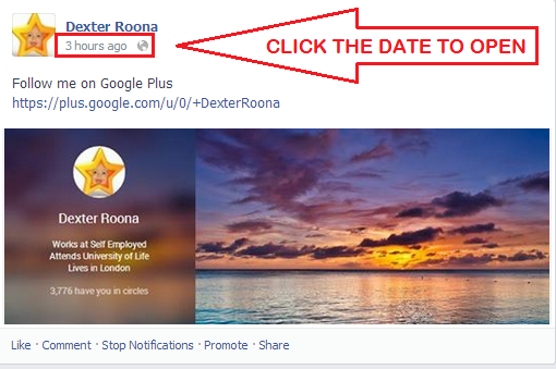 ShotPin - Click The Date To Open Your Facebook Post In A new Window Ready For Pinning