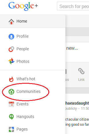 Google Plus Communites pull down menu