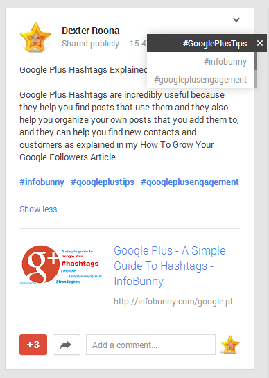 Google Plus Infobunny Hashtag Post
