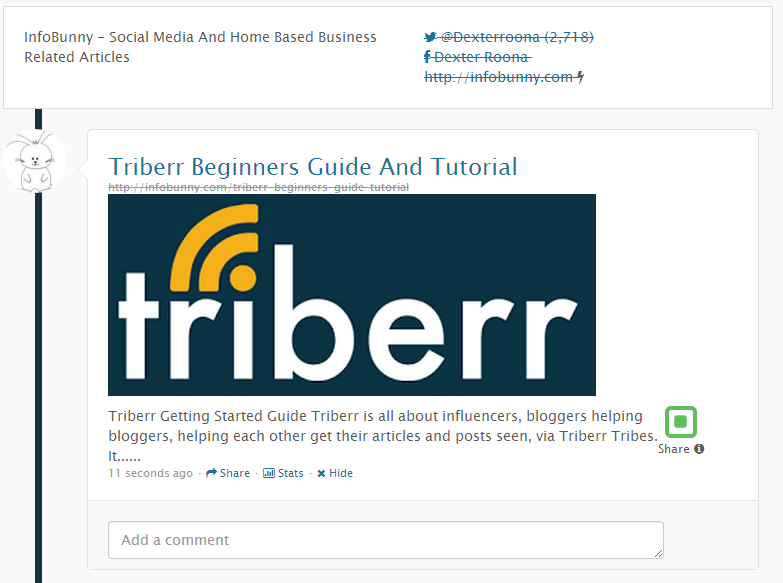 Triberr Beginners Guide - Triberr InfoBunny Post Made By The Triberr WordPress Plugin
