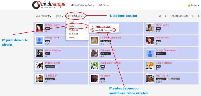 How to remove members not following back on circloscope