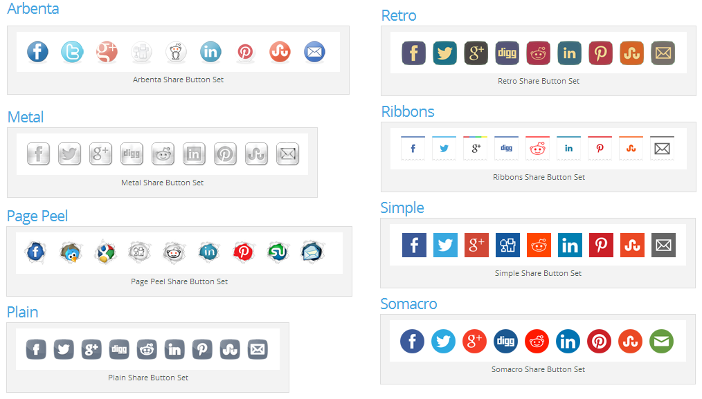Top 10 WordPress Plugins Simple Share Buttons - Button Styles