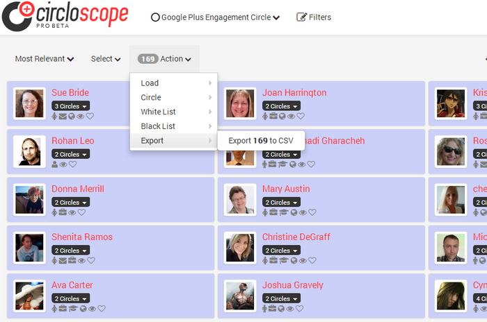 Circloscope Shared Circle Export steps