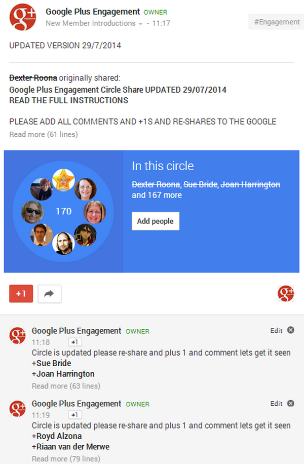 Finished Google Plus Engagement Circle Share