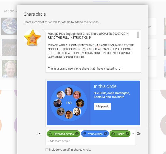 add your shared circle qualifications to the share box