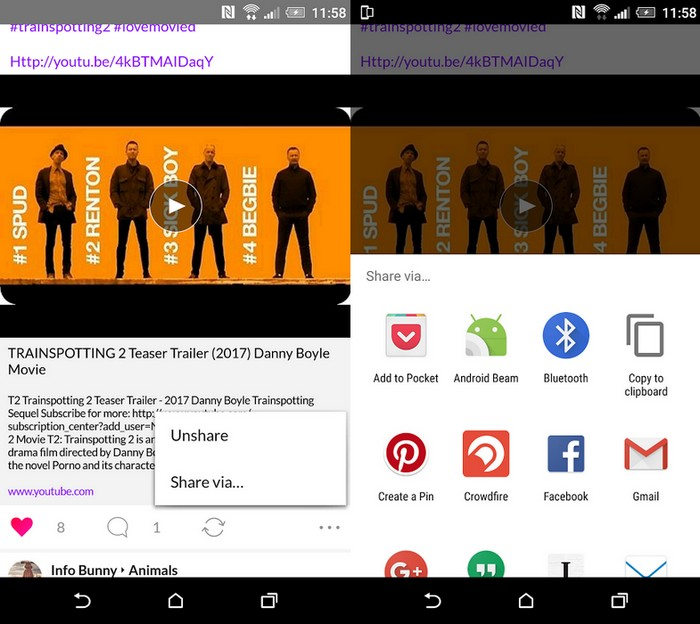 Tsu Social Android App post sharing options
