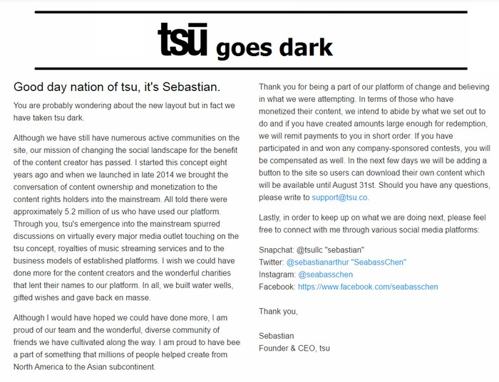 tsu closes the doors to 5 million members and goes dark