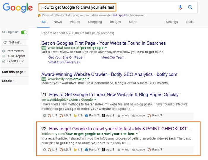 How to get Google to crawl your site fast - Results - Indexed and showing in under 4 hours
