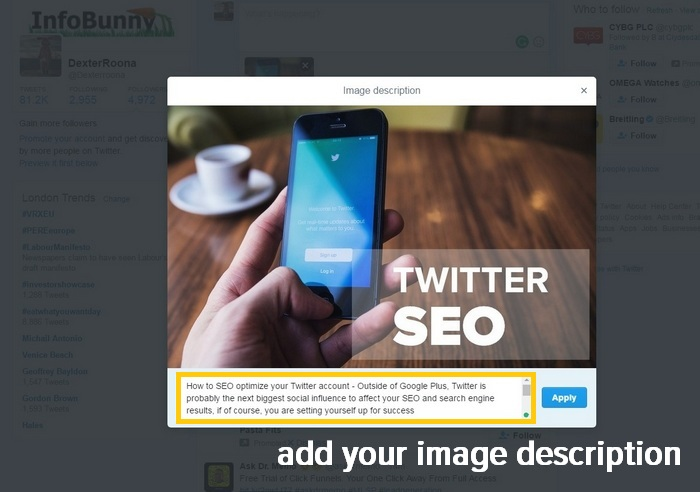 Twitter SEO - Add a description to images that you manually Tweet