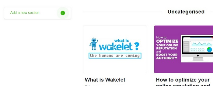 Wakelet getting started guide - Sections image 1