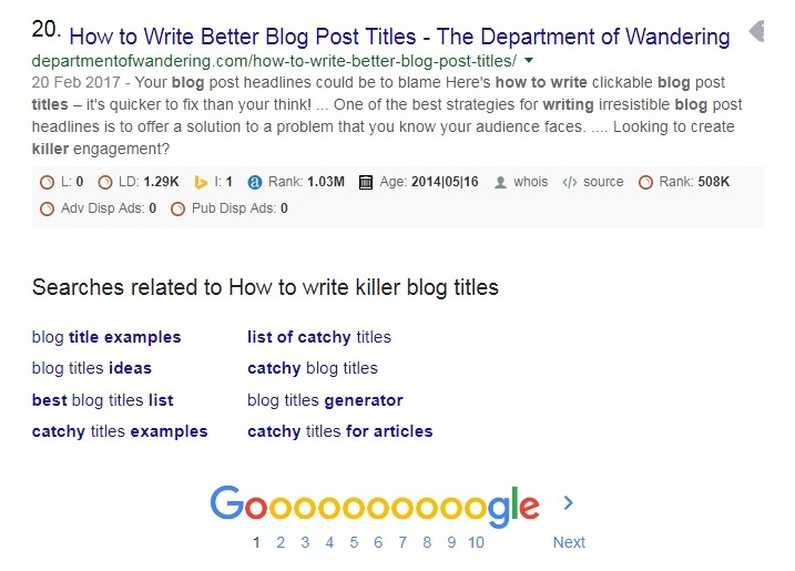 How to write killer blog titles - Related Searches