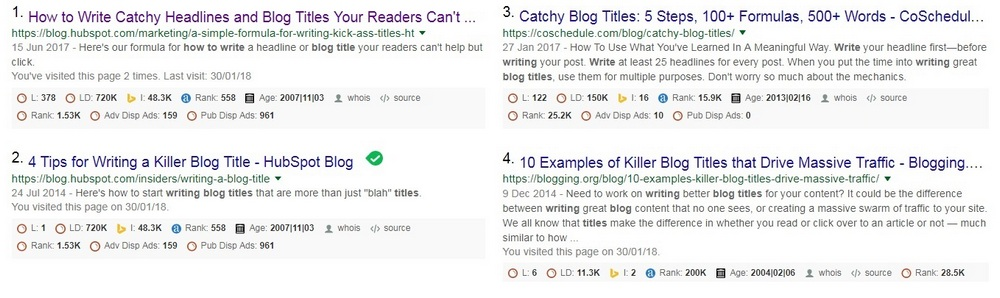 How to write Killer Blog Titles - search results