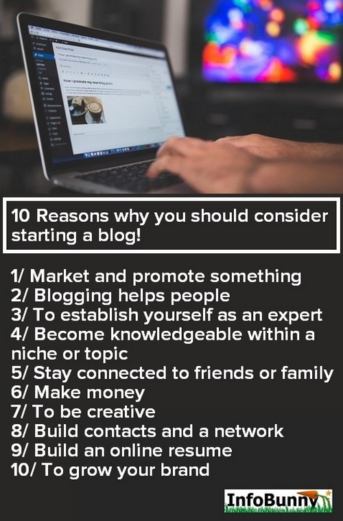 Pinterest graphic for - How to start a blog - 10 Reasons why you should consider starting a blog