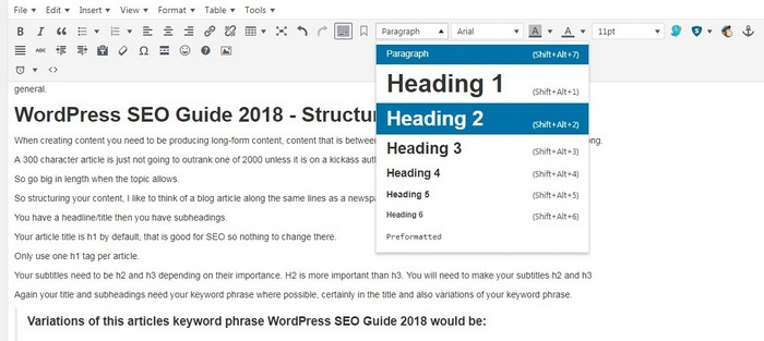 WordPress SEO Guide 2018 - TinyMCE editor