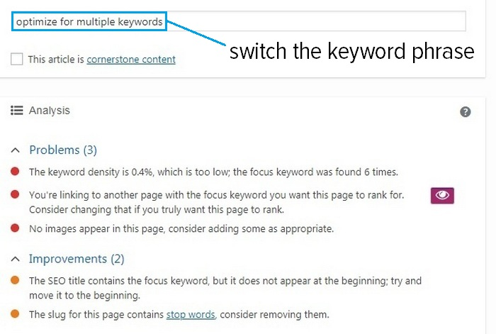 optimize for multiple keywords