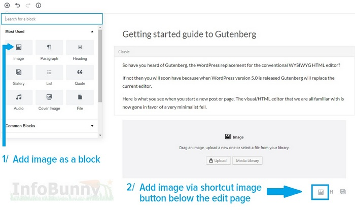 My Simple getting started guide to Gutenberg - images
