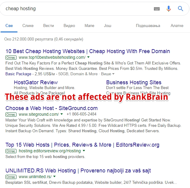 ads are not affected by RankBrain - Optimize for rankbrain