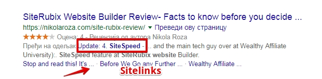 Sitelinks in the SERPS