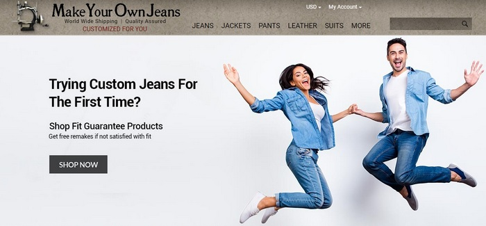 Homepage screen capture of zen cart site Make Your Own Jeans