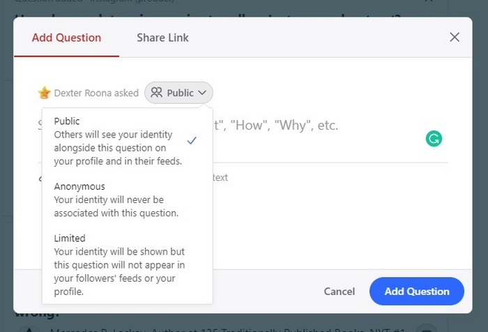 Quora screen capture showing question posting options