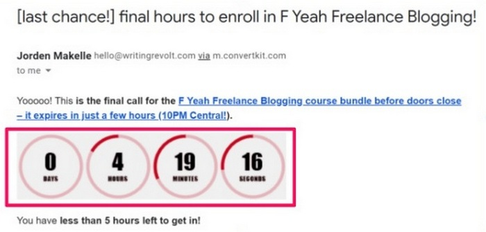 Screen capture of a countdown for an offer
