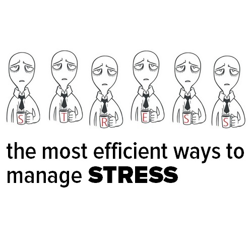 Pinterest share image of an unhappy cartoon man - The Most Efficient Ways to Manage Stress