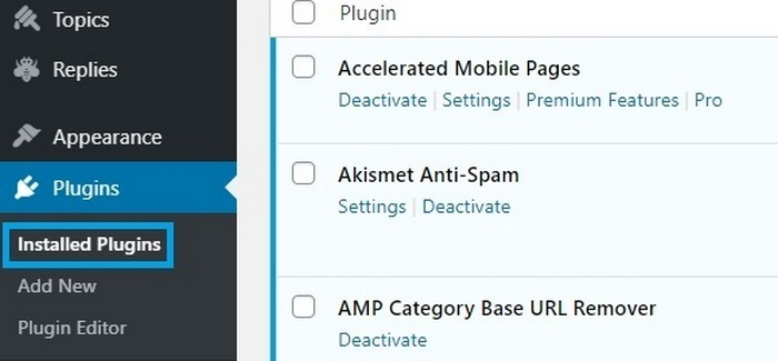 Screen capture showing the WordPress CMS back office plugins area