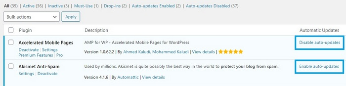 Screen capture showing the enable disable functions of WordPress plugins