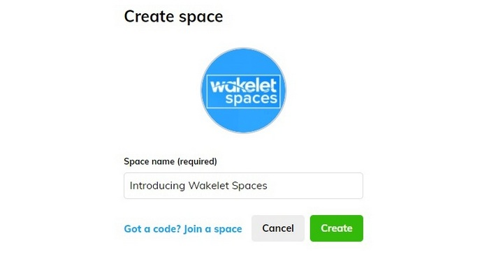 Screen capture showing - Upload a profile picture (avatar) for your Space and write a descriptive Space name.