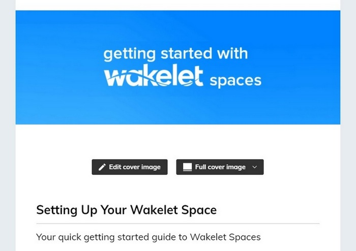 Screen capture showing you how to add a cover image for your new Space
