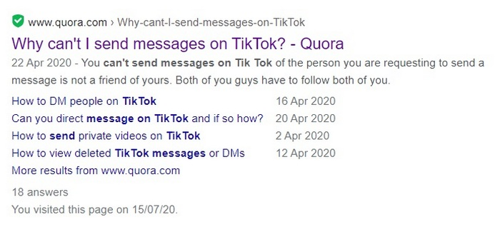 Screen capture for the question Why can't I send messages on TikTok?