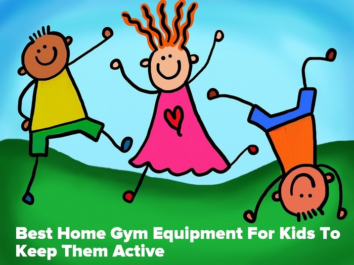 Cartoon kids keeping active - Best Home Gym Equipment For Kids To Keep Them Active