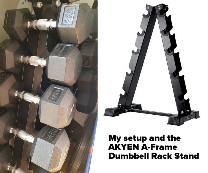 my current set up alongside the AKYEN A-Frame Dumbbell Rack Stand - best home gym equipment