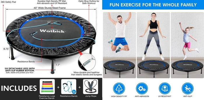 "Product image for the  Watbick 40"" Rebounder Mini Trampoline for Adults Kids"