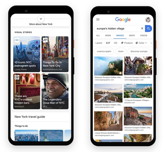 images showing how Web Storys appear -What Are Google Web Stories?