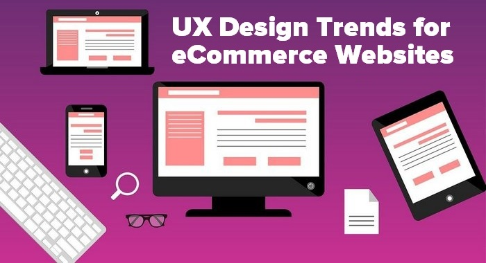 purple header graphic showing a laptop for the article UX Design Trends For eCommerce Websites