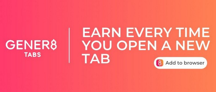 Gener8 text banner saying earn every time you open a new tab