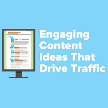Featured image laptop graphic for the article Engaging Content Ideas That Drive Traffic