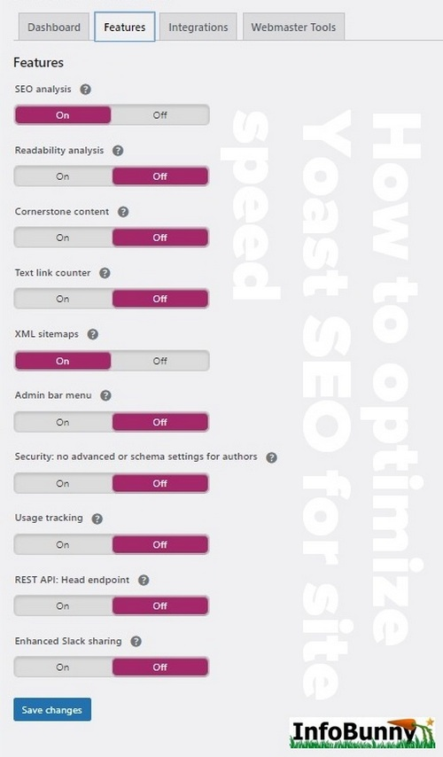 screen capture showing Yoast SEO settings - Here is how to optimizing Yoast SEO for site speed
