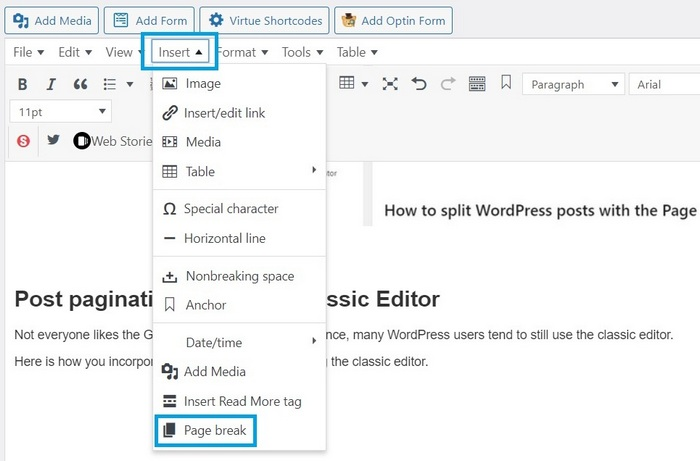 Screen capture showing the classic editor page break option -  How To Split WordPress Posts Into Multiple Pages
