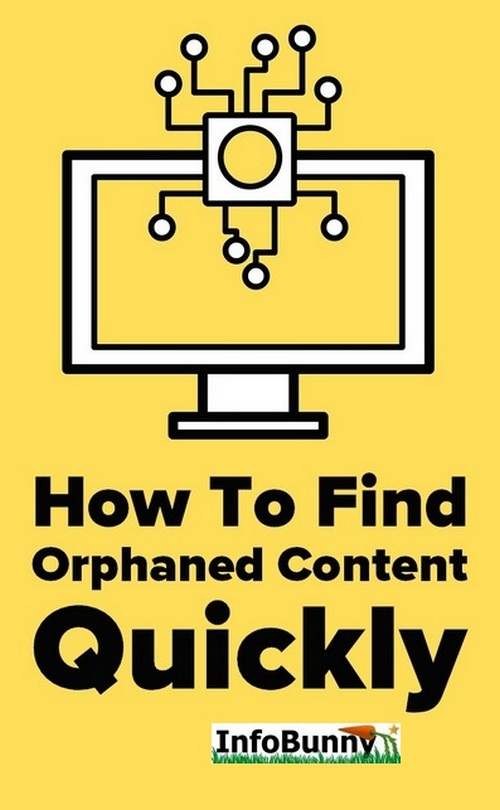 Pinterest share graphic of a monitor - How To Find Orphaned Content Quickly