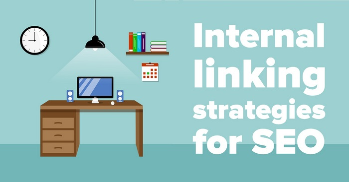 Cartoon graphic of the perfect home office for the article - Internal linking strategies for SEO